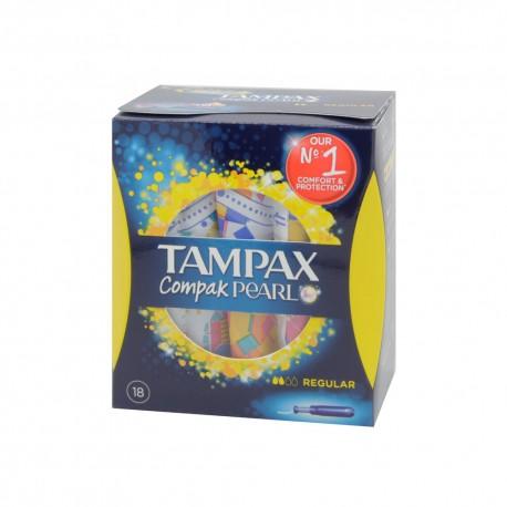 TAMPAX COMPAK PEARL TAMPON 100ALGODON REGULAR 18 U